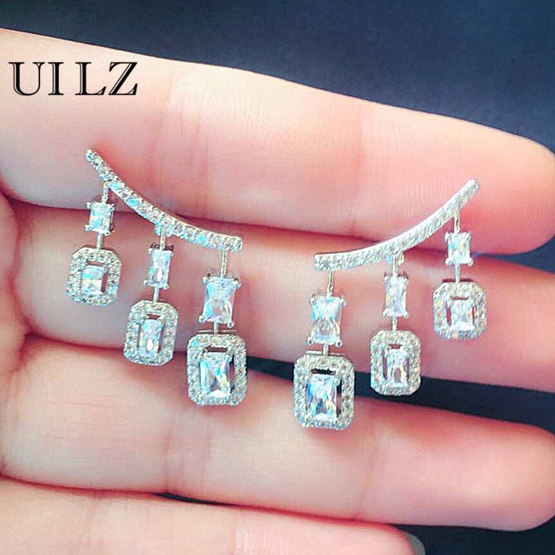 UILZ Trendy Women Drop Earrings With Square Cubic Zircon Paved For Female Party Weeding UE2031 цена