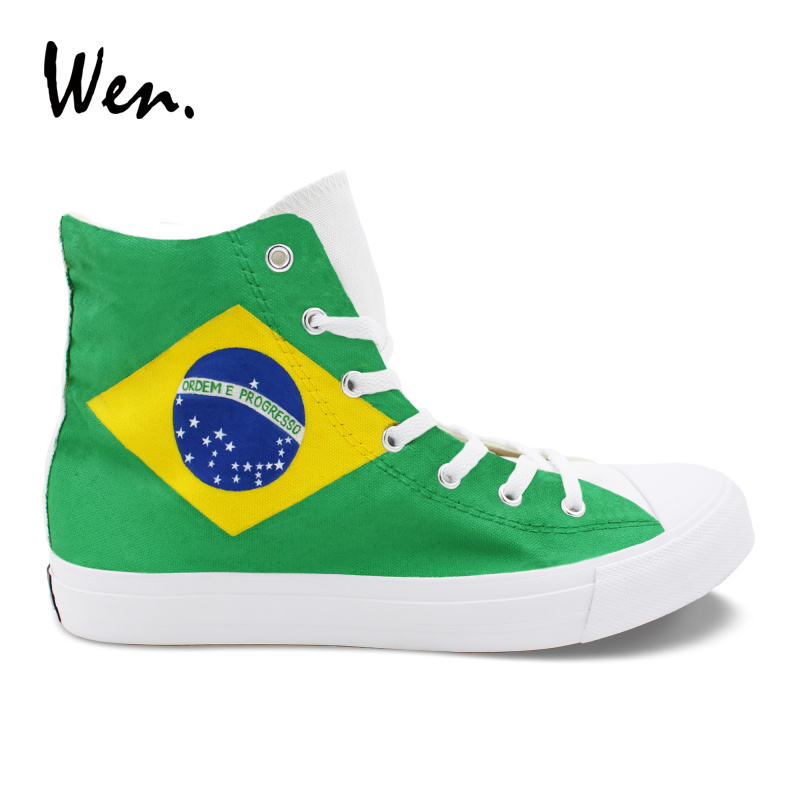 Wen Design Brazil Flag Bird Green-Winged Macaw Hand Painted Shoes High Top Men Women's Canvas Sneakers Customized Plimsolls men women converse puerto rico flag hand painted artwork high top canvas shoes unique sneakers