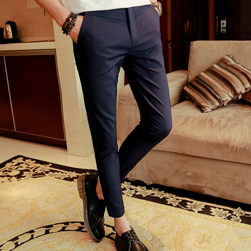 Summer New Ankle Length Trousers Male Skinny Pants Stretch Slim Fashion Casual Pants Harem Pants ...