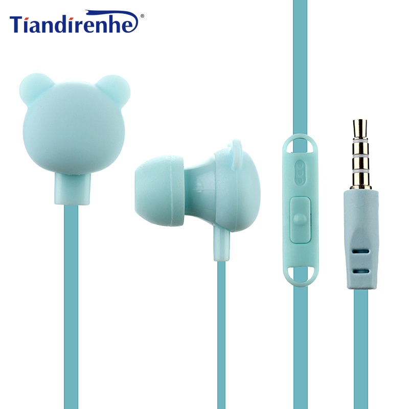 Cute Cartoon Earphone 3.5mm In-Ear Sport Music Lovely Headset Good Kids Children Bear Gift for Samsung Xiaomi HTC MP3 MP4 Player cute cartoon cat claw style in ear earphones for mp3 mp4 more blue white 3 5mm plug