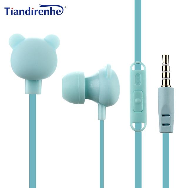 Cute Cartoon Earphone 3.5mm In-Ear Sport Music Lovely Headset Good Kids Children Bear Gift for Samsung Xiaomi HTC MP3 MP4 Player