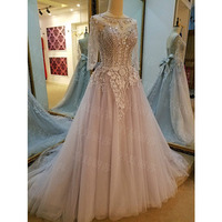 Beaded Crystals Evening Dresses With Sleeve Custom Made Evening Gowns 2018 Robe De Soiree Prom Dress Long Evening Dresses Bow
