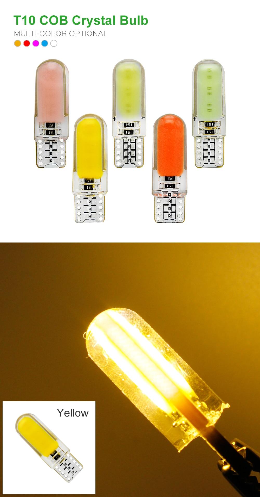 ANBLUB Silicone LED Car Interior Light 12V T10 W5W Wedge Side Parking Lamp Clearance Light COB LED Auto Reading Bulb Signal Lamp