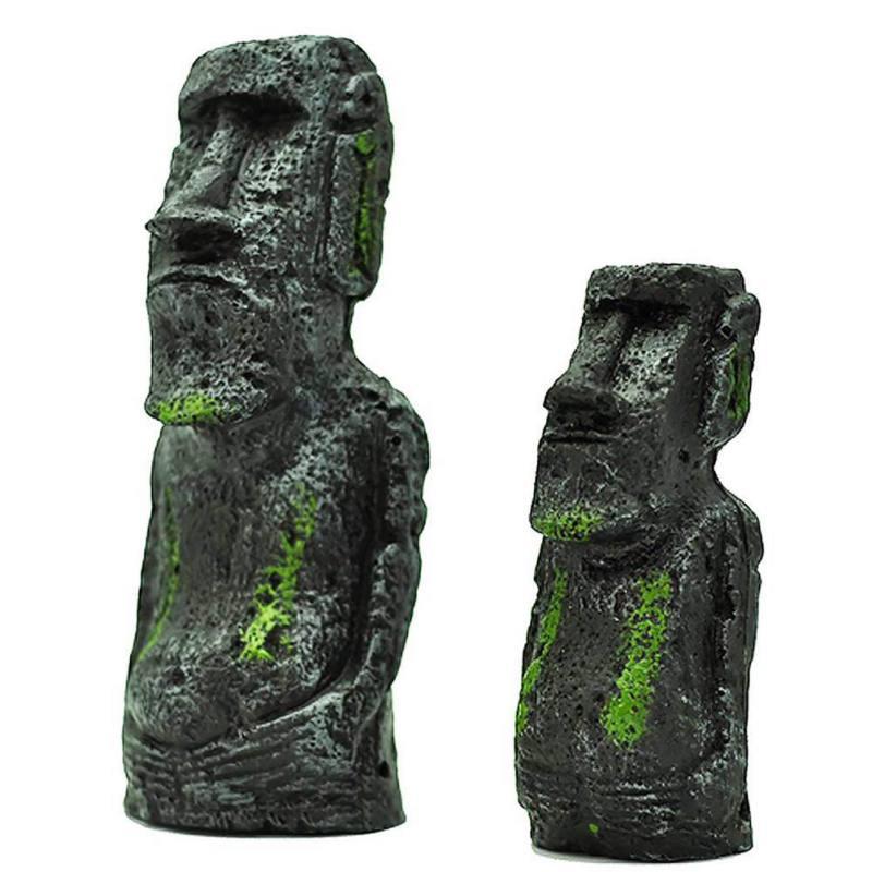 Resin Ancient Easter Island Face Statue For Decoration Moai Monolith Statue Fish Tank Aquarium Decorations Desktop Ornaments