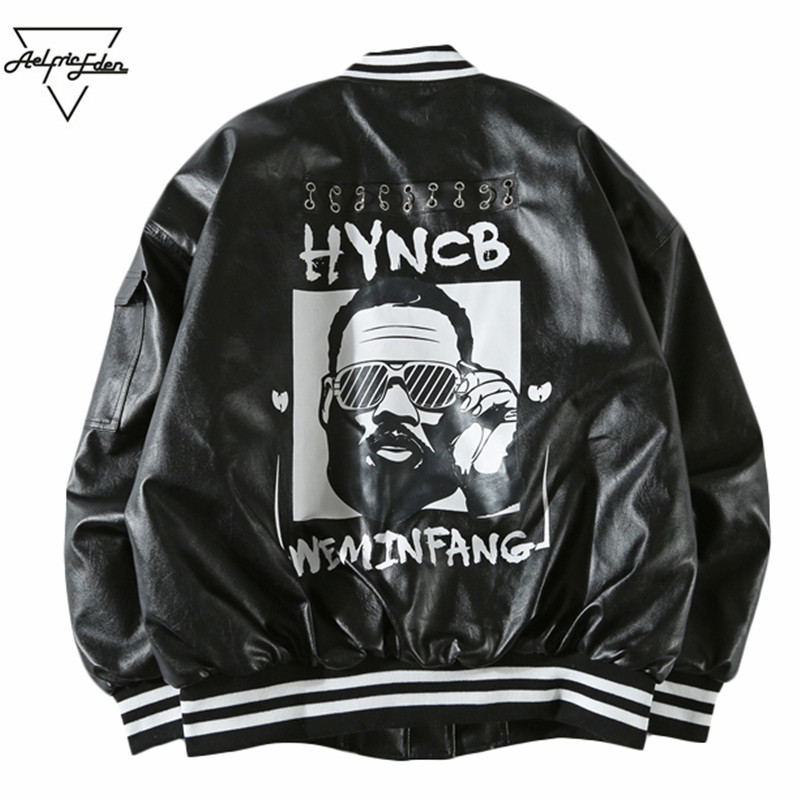 Aelfric Eden Winter Leather Hip Hop Jacket 3d Printed Baseball Jackets Streetwear Men Cotton Warm Kanye Style Black Coat KT16