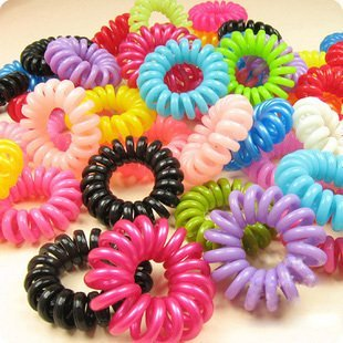 500pcs Wholesale Free shipping Retail New Colorful Korea Rope Elastic Girl's Rubber Hair Ties Bands Phone Strap Hair Band M Size