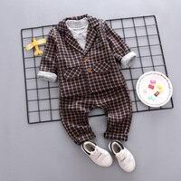 Baby Kids 3 Pcs Suit 2018 Spring Fall Plaid Casual Clothing Sets Children Grid Coat + Tops + Pants Little Boys Dress Outfit X266