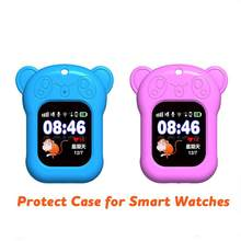 Portable Smart Watch Case for Q90 DF25 Q80 Q528 Silicon Case with Sling Cute Panda Anti-lost Watch Protect Case for Kid Baby r20(China)