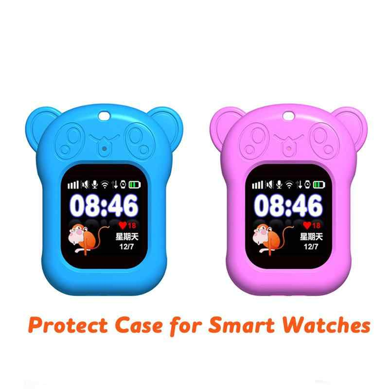 Portable Smart Watch Case for Q90 DF25 Q80 Q528 Silicon Case with Sling Cute Panda Anti-lost Watch Protect Case for Kid Baby r20
