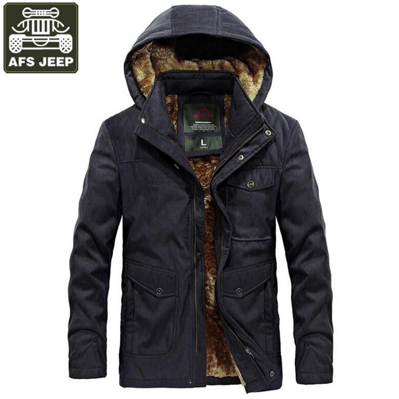 AFS JEEP Brand 2018 New Winter Parka Men Military Parka Thick Warm Winter Coat Men Hooded Collar Wool Liner Windbreaker Jackets