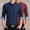 Size M-6XL 2017 Men's fashion boutique grid slim casual business long sleeve shirts / Male leisure shirts Men long sleeve shirts