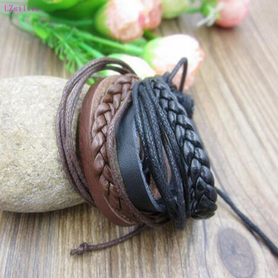 24pcs New Fashion personality Multiple layers Weave Genuine Leather Bracelet Cowhide & Wax lines Adjustable Couple Bracelet