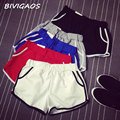 2016 Womens Summer Hot Sale Loose Casual Cotton Elastic Waist Shorts Short Female Home Shorts Workout Shorts For Women Plus Size