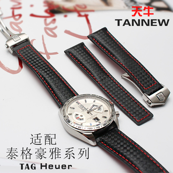 20MM 22MM Carbon pattern strap fit tag heuer F1 WAZ2113 sports watch watchband with waterproof leather for men watch accessories belt