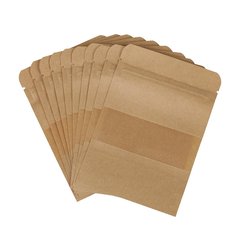 Practical 10 Pcs Coffee Seeds Sweets  Seal Kraft Paper Bag Window Stand Up Sealable Pouch