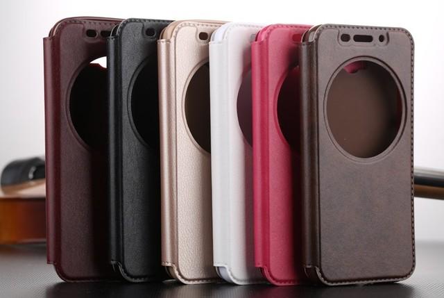 Deri akıllı pencere görünüm vaka ASUS Zenfone Max için ZC550KL/Selfie ZD551KL/3 ZE552K/ZE520KL/2 lazer ZE550KL/ZE500KL/Go ZB551kG