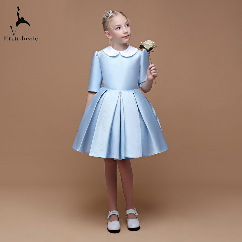 Eren Jossie Little Queen Light Blue Satin Girl's Party Dress Knee Length 1/2 Sleeve Style Good Quality Child Dancing Gown