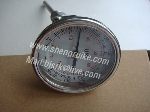 0-120C Adjustable Bimetal thermometer with 3 dial SS Case