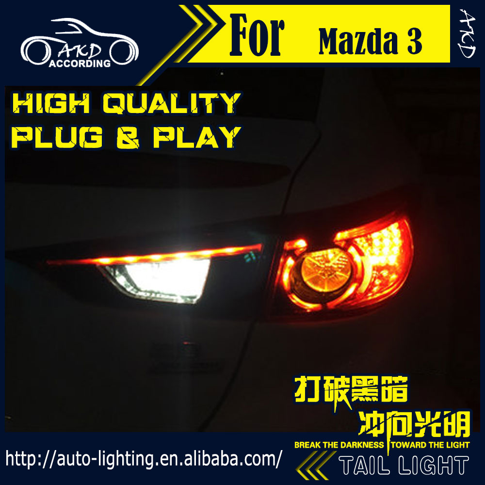 AKD Car Styling Tail Lamp for Mazda 3 Axela Tail Lights Hybrid LED Tail Light LED Signal LED DRL Stop Rear Lamp Accessories