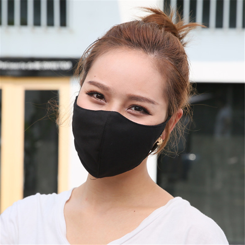 5pc Autumn And Winter New Fashion Men And Women Pure Cotton Pure Color Black Mask Can Adjust Warm Couple Masks Gifts