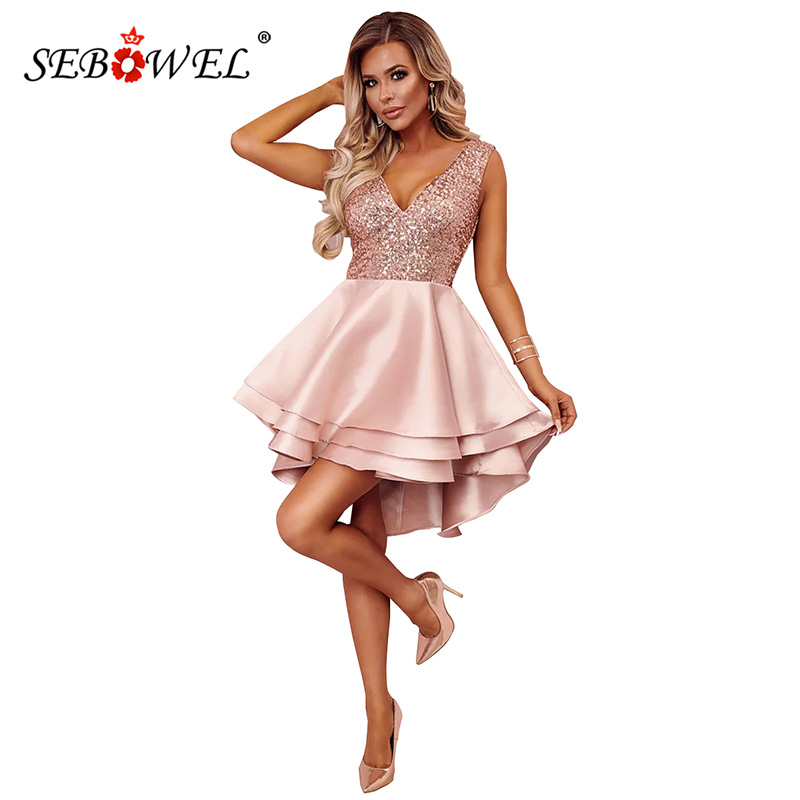 19cf6ff15a SEBOWEL Sparkle Sexy Sequin Multi Layer Skater Party Dress Women Glitter  Sequined Sleeveless Deep V Night Club Mini Dresses