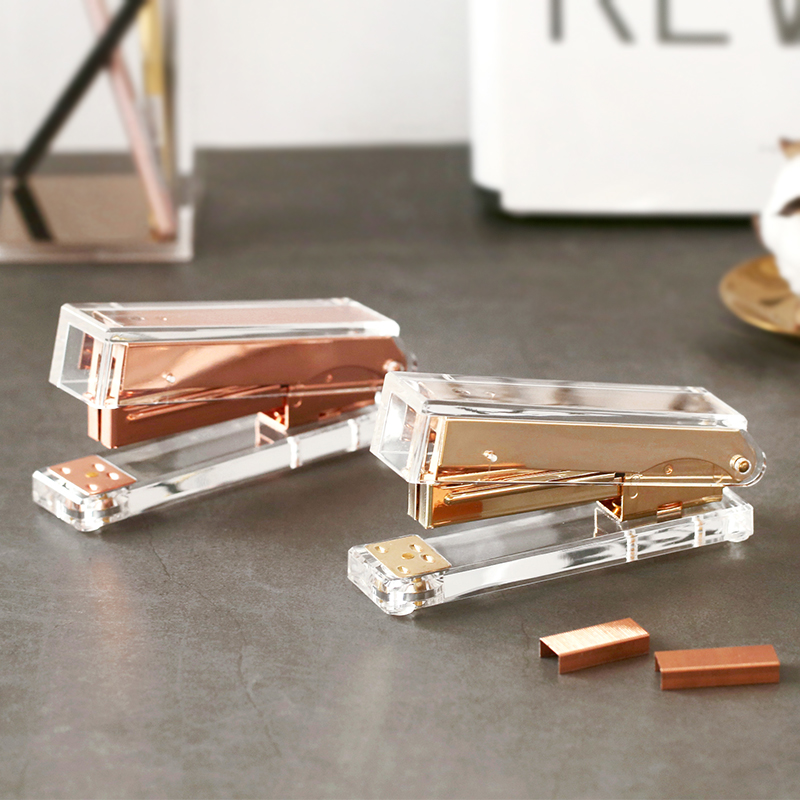 Luxury Rose Gold Gold Manual Stapler Fashion Metal Acrylic Stapler 24/6 26/6 Include 1000pcs Staples Grapadora Papelaria(China)