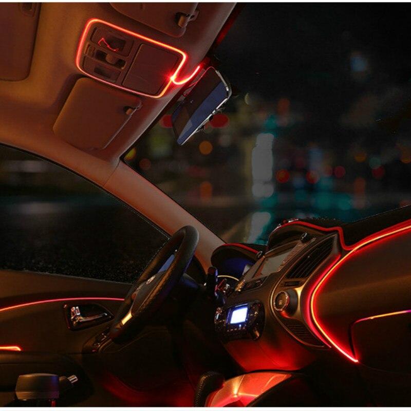 3M AUTO interior refit light clamping-edge EL Wire Flexible Neon Car Decorate With 12V Cigarette lighter Drive Free shipping 2m auto interior refit light clamping edge el wire flexible neon car decorate with cigarette lighter drive for audi bmw benz vw