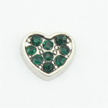 Hot selling!10pcs May birthstone crystal heart floating charms for floating glass lockets
