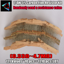 0.33R-4.7M ohm 1/4W 0.25W 5% DIP carbon film resistor,122valuesX10pcs=1220pcs, RESISTOR Assorted Kit, Sample bag Free shipping