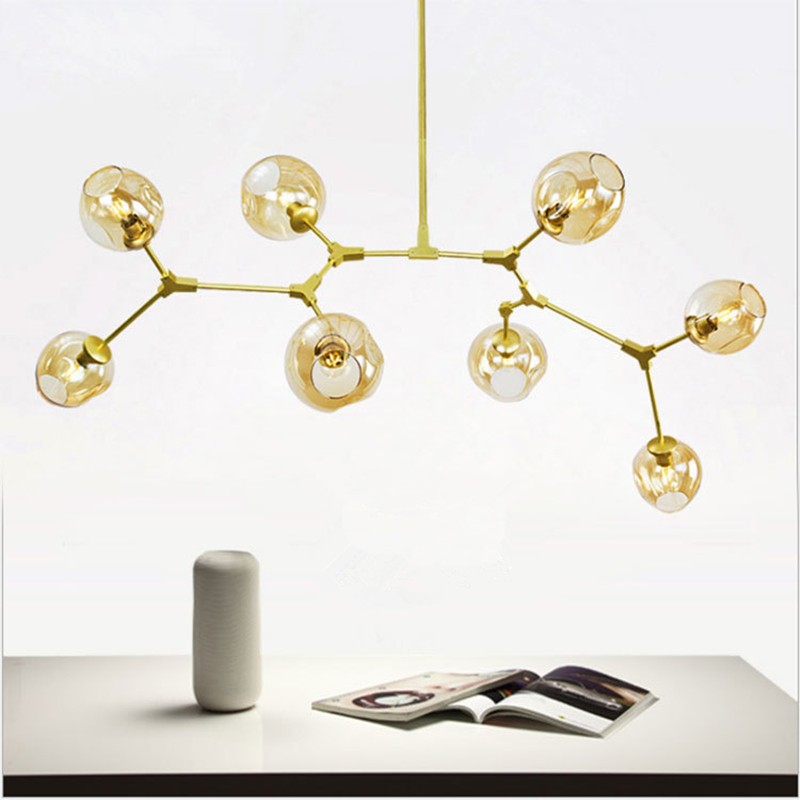 ФОТО Glass Ball Branching Bubble Pendant Chandeliers For Dining Room Living Room Modern Chandelier Lighting Lustre Led Avize E27 Lamp