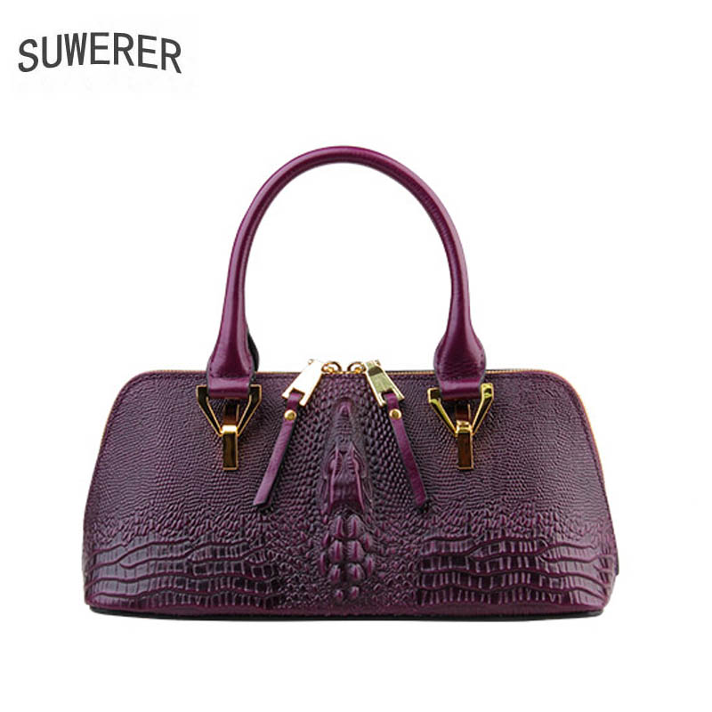 SUWERER women Genuine Leather bag 2018 new luxury fashion Crocodile pattern handbags women bag designer leather Pillow bag