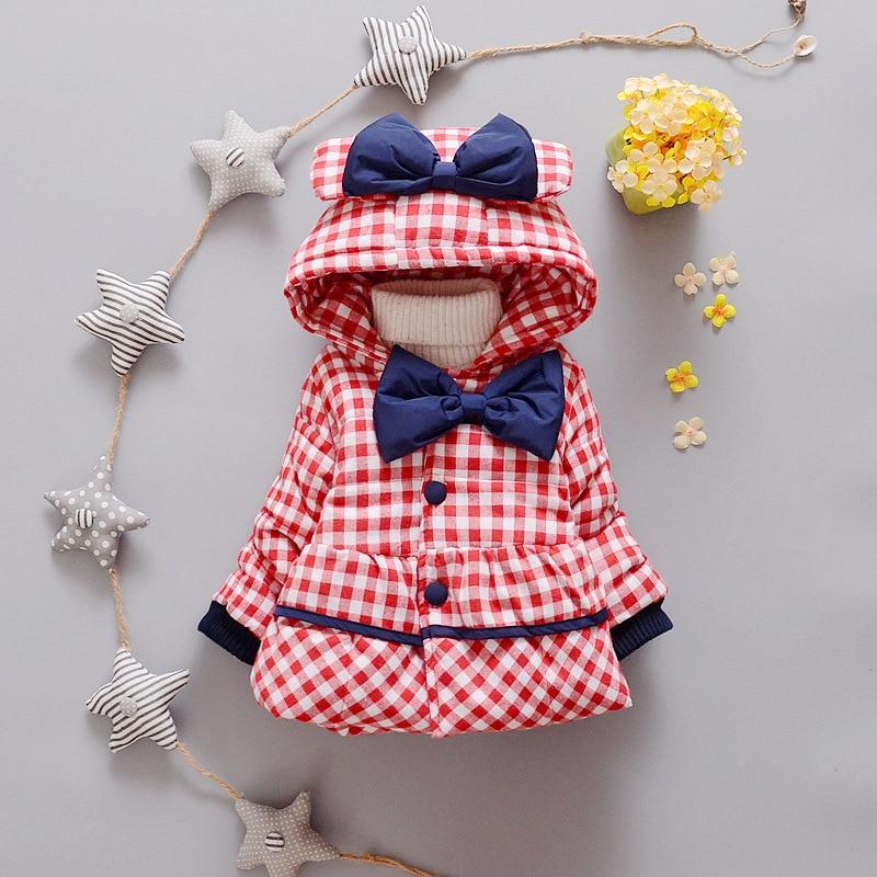 Hot Sale Winter Baby Girls Coats Kids lattice Bow Jackets Fashion Hooded Children Outdoor Parka Warm