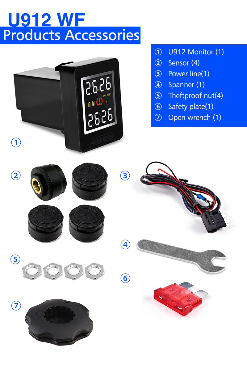 Image 5 - U912 Car TPMS Tire Pressure Monitoring System LCD Display Auto tyre Alarm for Toyota Honda Nissan Mazda with 4 sensors-in Tire Pressure Alarm from Automobiles & Motorcycles