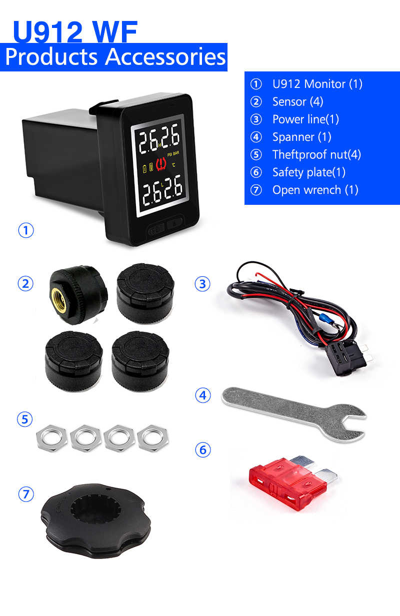 U912 Car TPMS Tire Pressure Monitoring System LCD Display Auto tyre Alarm for Toyota Honda Nissan Mazda with 4 sensors