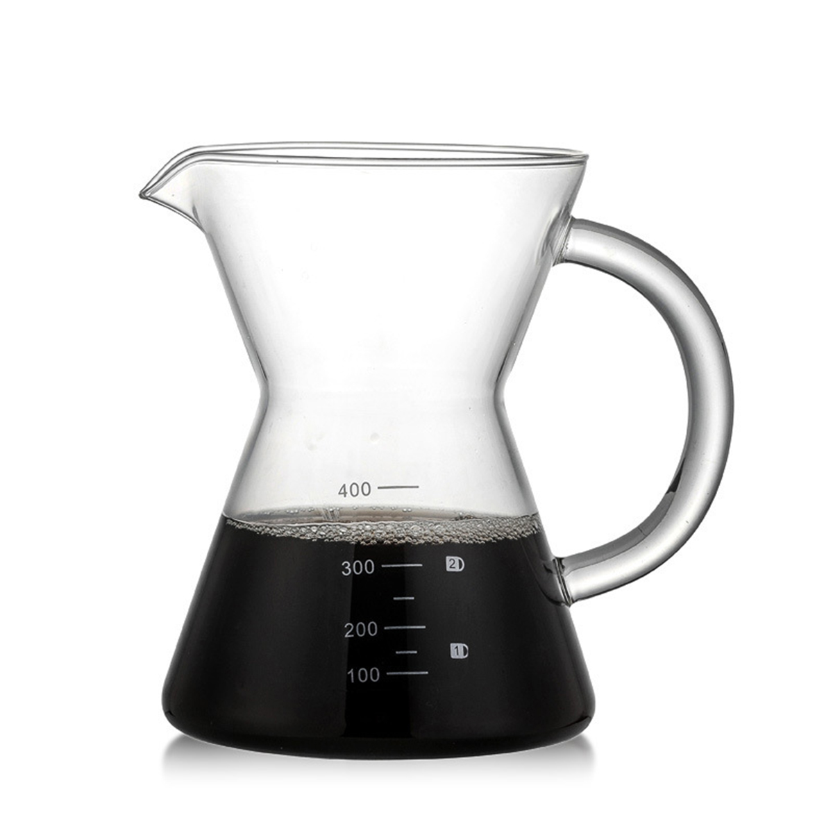 Coffee Maker Pots Glass Pour Over Permanent Filter Net Handle Drip Coffee Hand Flush Time 400ml Height 143 mm Afternoon Tea