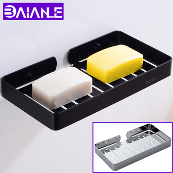 Bathroom Soap Dish Black Lengthen Shower Soap Holder Shampoo Box Stainless Steel Soap Rack Wall Mounted Cosmetic Storage Rack bathroom soap holder shower wall mounted black soap dish storage holder aluminum decorative soap dishes box basket square