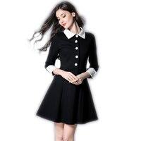 Robe Hiver Femme 2016 Fall Winter Casual Dresses Women White Peter Pan Collar Long Sleeve Black