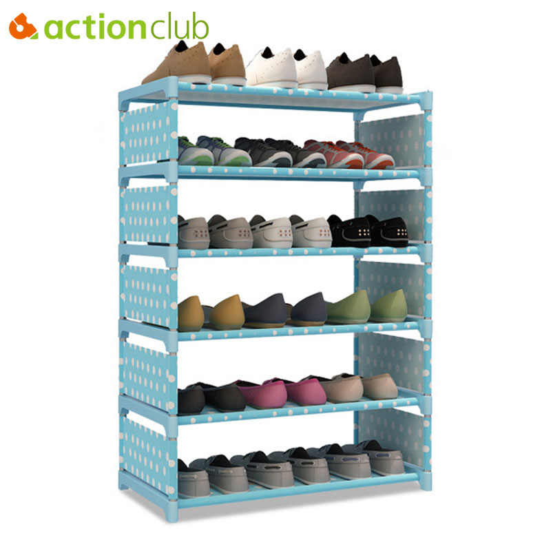 Actionclub Six Layer Simple Shoe Rack Non-woven Iron Metal Shoe Shelf Multi-purpose Shoe Cabinet Book Shelves Toy Storage Locker