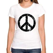 2016 Newest fashion Peace Grunge Symbol printed women t-shirt short sleeve lady Retro tops custom novelty Tee