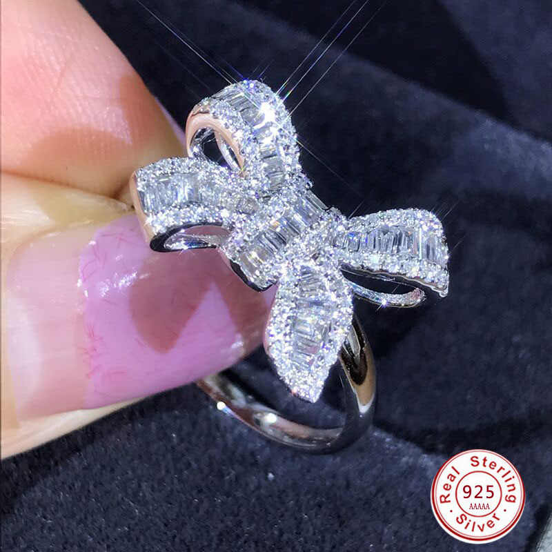 HOT 925 Silver filled Sparkling Big Bow Knot Stackable Ring Micro Pave CZ for Women Valentine's Day Gift Jewelry Anillos Mujer