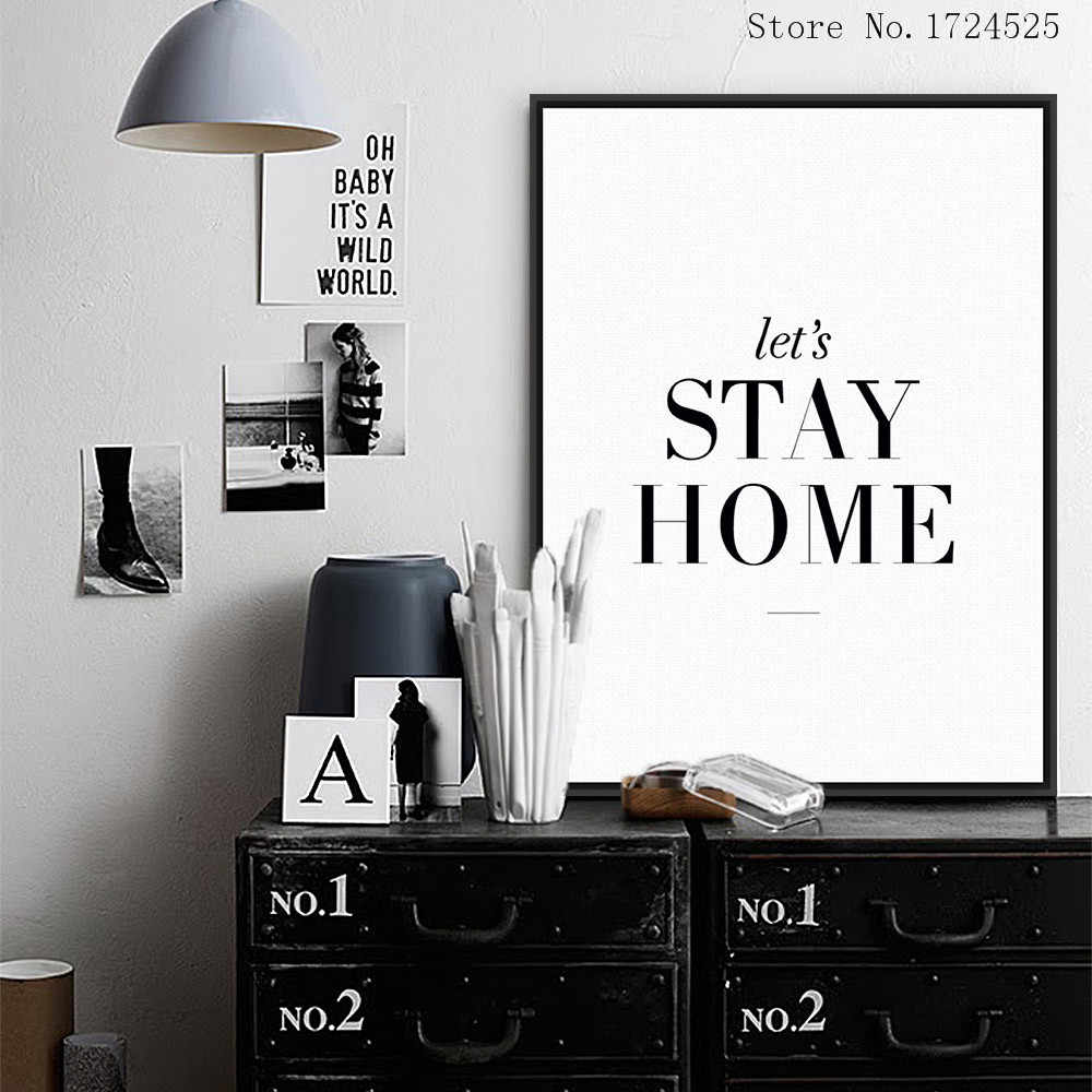 Special Offer Top Fashion Modern Let's Stay Home Minimalist Typography Quotes Wall Painting Decorate Living Room Pictures