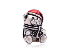 Unique Zircon Beads Christmas Bear alloy bead Beads Charms fit Pandora Necklace Bracelet for Women Men Jewelry Accessories W1-01