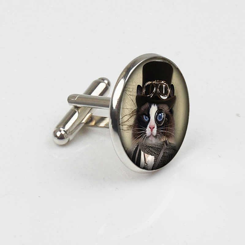 ZBOZWEI Alice Wonderland Cheshire küçük yavru Steampunk kol düğmeleri el yapımı kadınlar takı erkekler Unisex elbise aksesuarları hediye