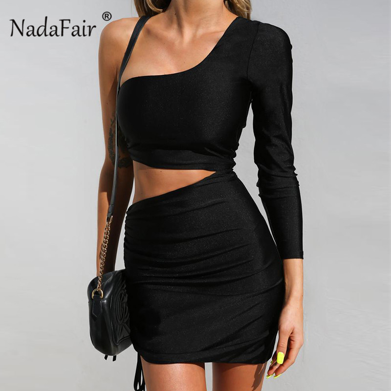 Nadafair <font><b>Sexy</b></font> Party Club Backless <font><b>Bodycon</b></font> <font><b>Dress</b></font> <font><b>Women</b></font> Hollow Out One Shoulder Ruched <font><b>Dresses</b></font> Long Sleeve Mini Black Robe Autumn image