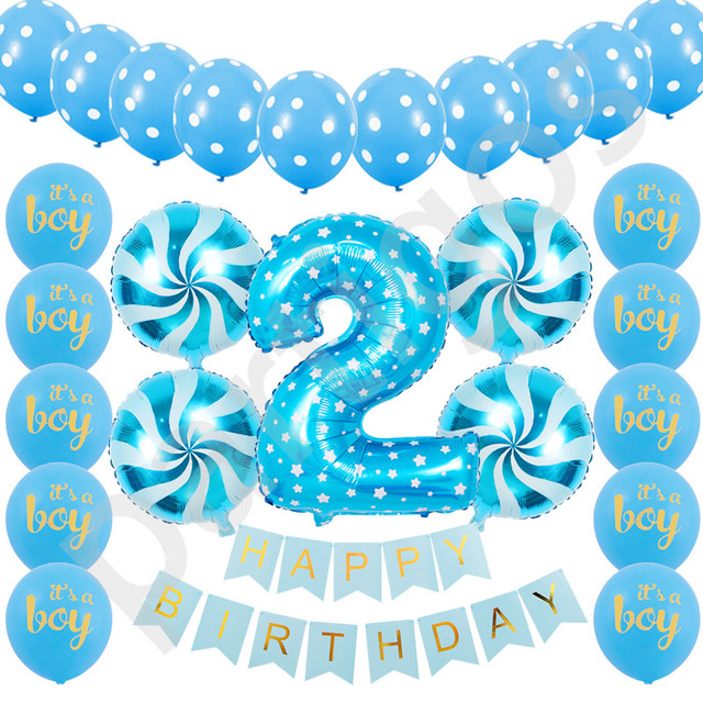 26pcs Set Digital 2 Foil Balloons Happy Birthday Banners For Kids Year Old