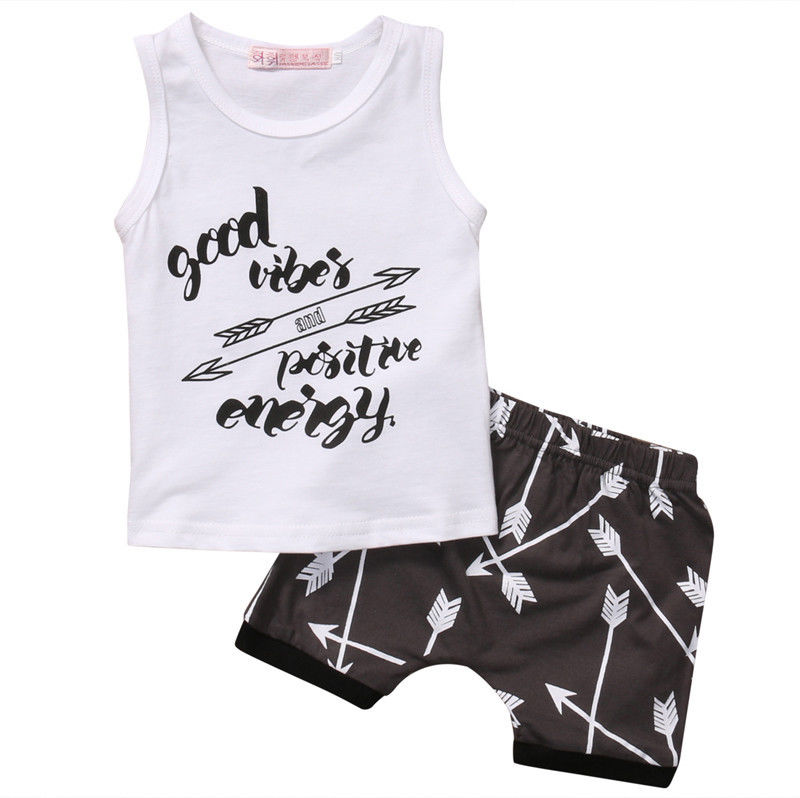 newborn Baby clothing sets Kids Boys Set Summer Cotton Letter Tops + Shorts Infant Boys Outfit 0-24M