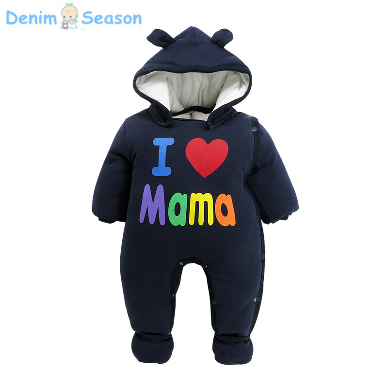 Denim Season 0-24m Newborn Baby Clothes Cotton Thicken Warm Fantasia Baby Romper Cute  Animal Jumpsuit Baby Boy Winter Rompers warm thicken baby rompers long sleeve organic cotton autumn