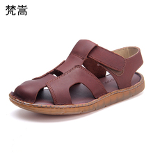 mens summer Genuine Leather casual sandals thick bottom gladiator cowhide Shoes beach outdoor