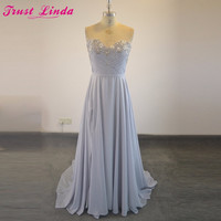 Real Sample Sweetheart Silver Color Appliques Crystal Bridesmaid dresses 2018 night Formal Prom Gowns party dress For Bridal