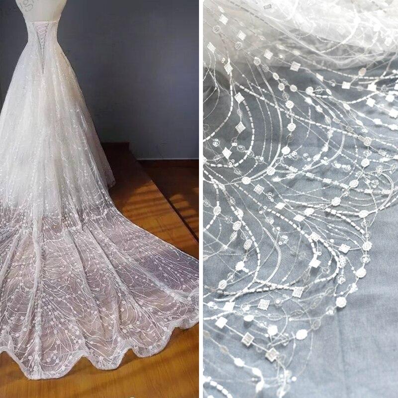 16da97bfbd 135cm*50cm Embroidery sequins Lace Fabric for wedding dress Embroidered  applique dresses fabrics DIY curtain